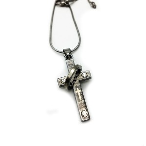 آویز استیل صلیب نگین دار-تصویر 3