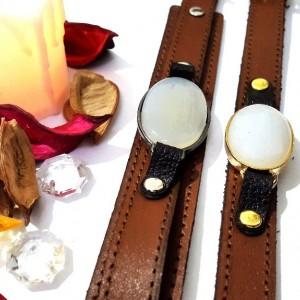 ست دستبند مردانه و زنانه چرم با نگین عقیق