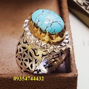 انگشتر مردانه دست ساز با سنگ فیروزه نیشابور اصل-تصویر 3