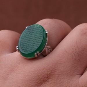 انگشتر عقیق سبز خطی-تصویر 2
