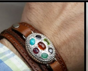 دستبندچرم۷جواهراصل