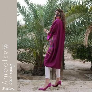 مانتو سننی زری دوز جدید مدل گل بنفش-تصویر 2