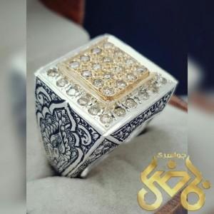 انگشتر نقره خاص مخراج الماس اصل