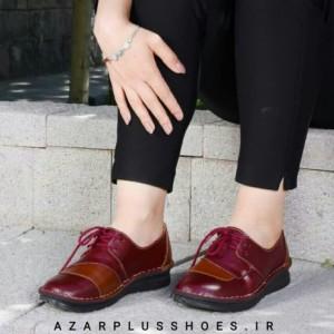 کفش دخترانه مدل شانلی تمام چرم زرشکی عسلی