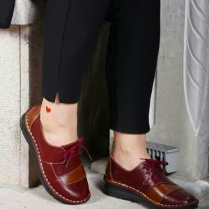 کفش دخترانه مدل شانلی تمام چرم زرشکی عسلی-تصویر 2