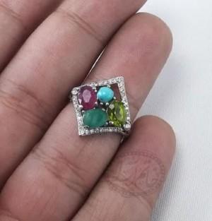 انگشتر زنانه جواهری اصل ۴نگینه-تصویر 4
