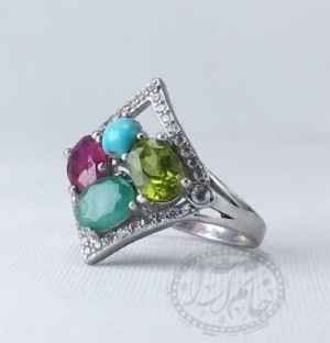 انگشتر زنانه جواهری اصل ۴نگینه