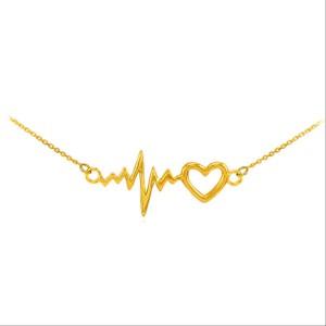 گردنبند نقره مدل ضربان قلب heartbeat طلایی