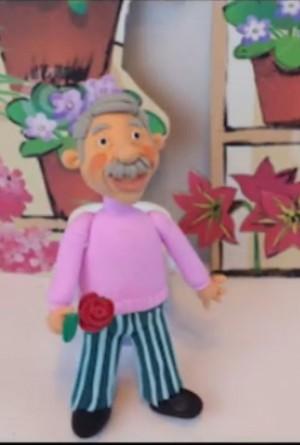 عروسک خمیری گل فروش
