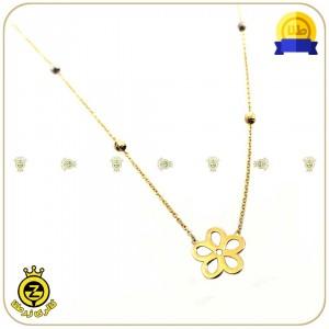 گردنبند طلا طرح گل با گوی های کوچک-تصویر 2