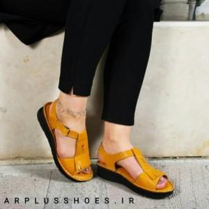 کفش صندل بند دار تمام چرم مدل لارا زرد-تصویر 3