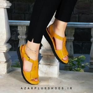 کفش صندل بند دار تمام چرم مدل لارا زرد-تصویر 2