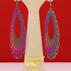 گوشواره استیل رنگین کمانی-تصویر 2