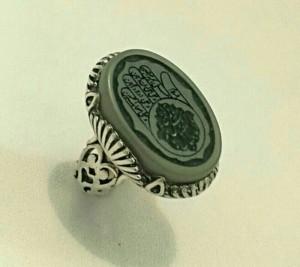 انگشتر یشم خطی کف العباس اصل معدنی-تصویر 2