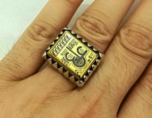 انگشتر فاخر حدید ع علی طلاکوبی درشت استثنایی-تصویر 4