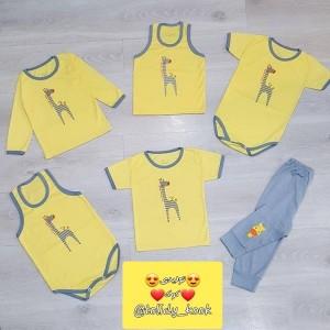مدل اسپرت دخترانه، پسرانه زرد زرافه سایز ۱،۲،۳،(یقه دکمه)-تصویر 2