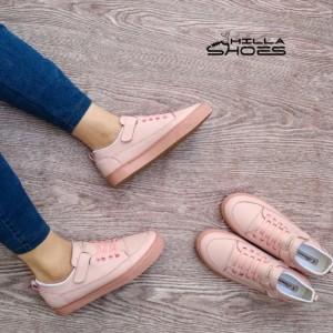 کفش کتانی زنانه چسبی صورتی با بند تزئینی-تصویر 3