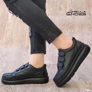 کفش کتانی زنانه سه چسب لژدار مشکی-تصویر 3