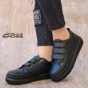 کفش کتانی زنانه سه چسب لژدار مشکی-تصویر 2
