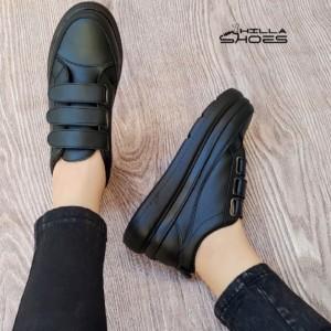 کفش کتانی زنانه سه چسب لژدار مشکی-تصویر 4