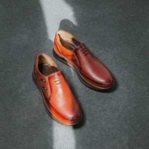 کفش تمام چرم گاوی مدل سناتور بی بند مردانه-تصویر 2