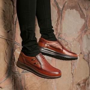 کفش تمام چرم گاوی مدل سناتور بی بند مردانه