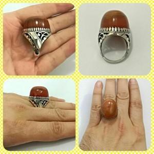 انگشتر عقیق سه پوست اصل معدنی-تصویر 5