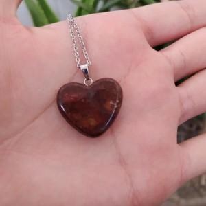 گردنبند جاسپر جگری طرح قلب-تصویر 3