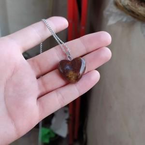 گردنبند جاسپر جگری طرح قلب-تصویر 4