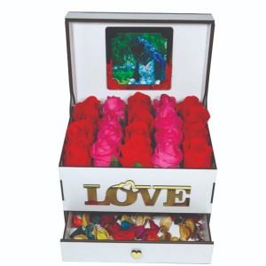 جعبه کادو ولنتاین هدیه باکس گل چوبی لوکس باکس مدل عشق  کد LB262-تصویر 2