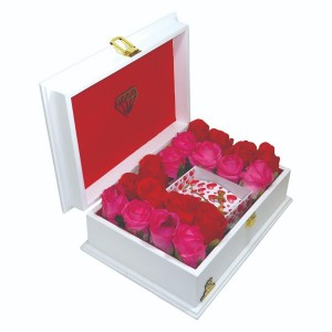 جعبه کادو ولنتاین هدیه باکس گل چوبی لوکس باکس کد LB272-تصویر 5