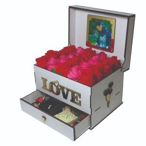 جعبه کادو ولنتاین هدیه باکس گل چوبی لوکس باکس مدل عشق  کد LB262