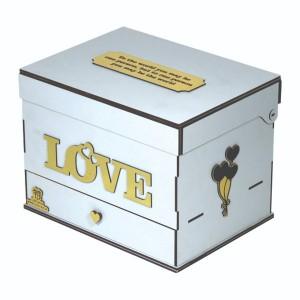 جعبه کادو ولنتاین هدیه باکس گل چوبی لوکس باکس مدل عشق  کد LB262-تصویر 3