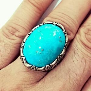 انگشتر فاخر درشت فیروزه پاک و زنده معدنی-تصویر 2