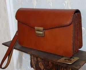 کیف مدارک مردانه ، چرم طبیعی تمام دست دوز