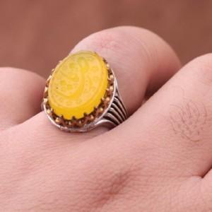 انگشتر عقیق زرد خطی-تصویر 2