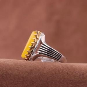 انگشتر عقیق زرد خطی-تصویر 3