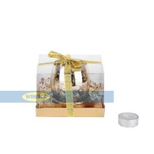 جا شمعی با حلقه گل کریستالی طلایی-تصویر 2