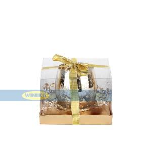 جا شمعی با حلقه گل کریستالی طلایی-تصویر 3