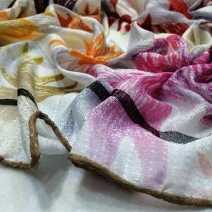 روسری نخ ابریشم دست دوز زنانه طرح گلهای بهاری 16-تصویر 3