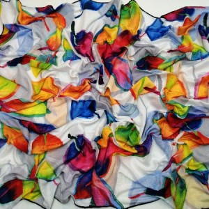 روسری نخ ابریشم دست دوز زنانه طرح گلهای بهاری 20-تصویر 2