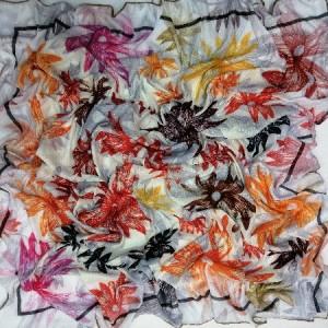 روسری نخ ابریشم دست دوز زنانه طرح گلهای بهاری 16-تصویر 2