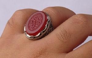 انگشتر عقیق سرخ خطی منقش به  یا زینب(س)-تصویر 2