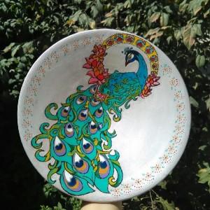دیوارکوب سفالی طرح طاووس-تصویر 3