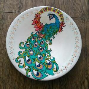 دیوارکوب سفالی طرح طاووس-تصویر 2