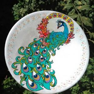 دیوارکوب سفالی طرح طاووس