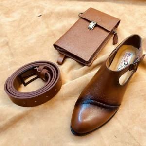 ست کیف و کفش چرم اصل گاوی زنانه