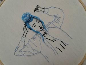گلدوزی طرح blue girl-تصویر 3