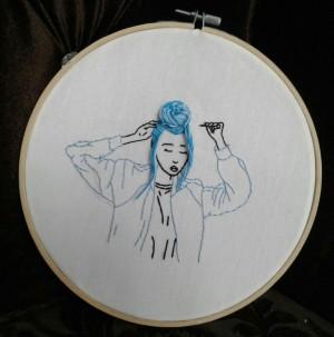 گلدوزی طرح blue girl-تصویر 2
