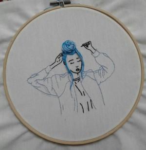 گلدوزی طرح blue girl